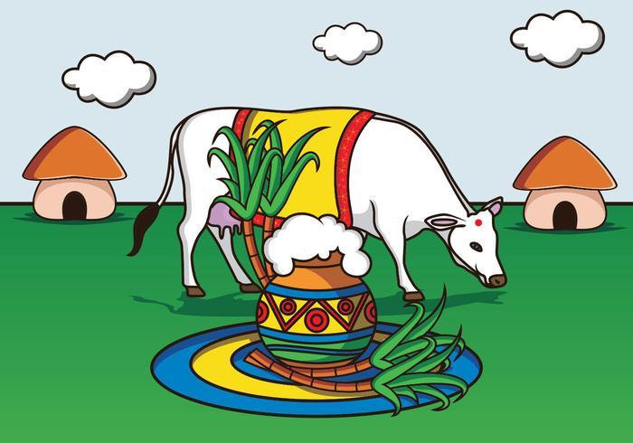 Ilustração feliz de Pongal