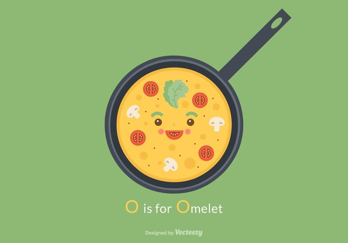 Free Cute Omelet Vector Illustration
