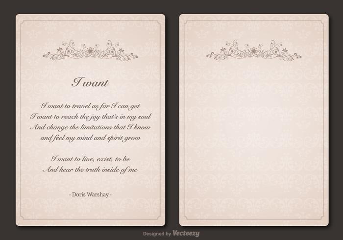 Free Poem Vector Vintage Template Design
