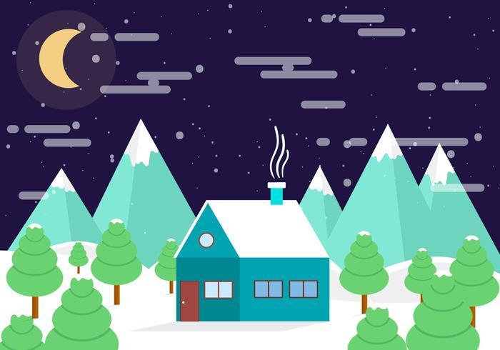 Paisaje de noche libre de invierno de vector