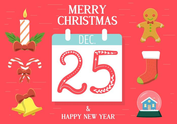 Calendário de vetores de Natal grátis