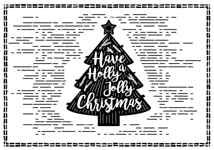Gratis Vintage Hand Drawn Christmas Card Vector