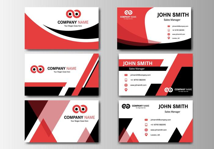 Free Business Red Name Card Vector - Download Free Vector Art