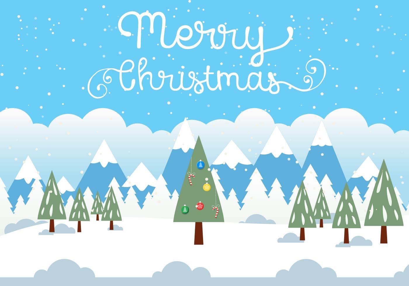 Free Vector Weihnachten Landschaft Illustration - Kostenlose Vektor ...