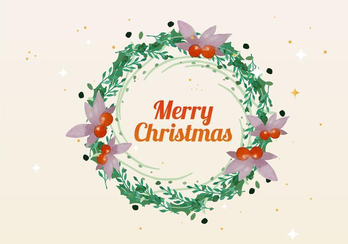 Christmas Watercolor Wreath Vector