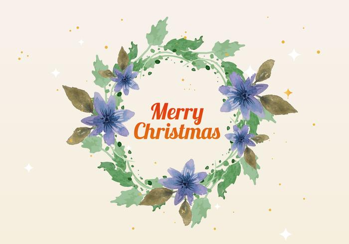 Free Christmas Watercolor Wreath Vector
