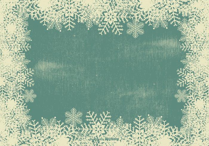 Grunge Snowflake Frame Background