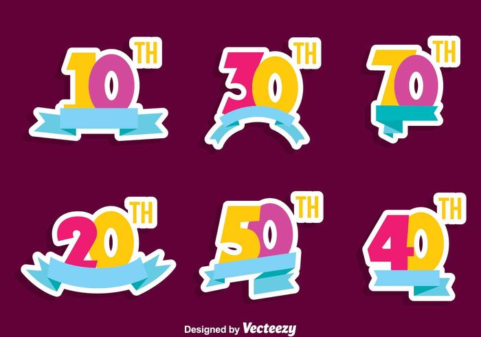 Colorful Anniversary Collection Vector