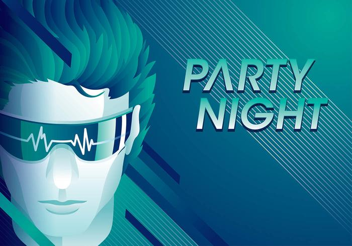 Flatline Party Night Free Vector