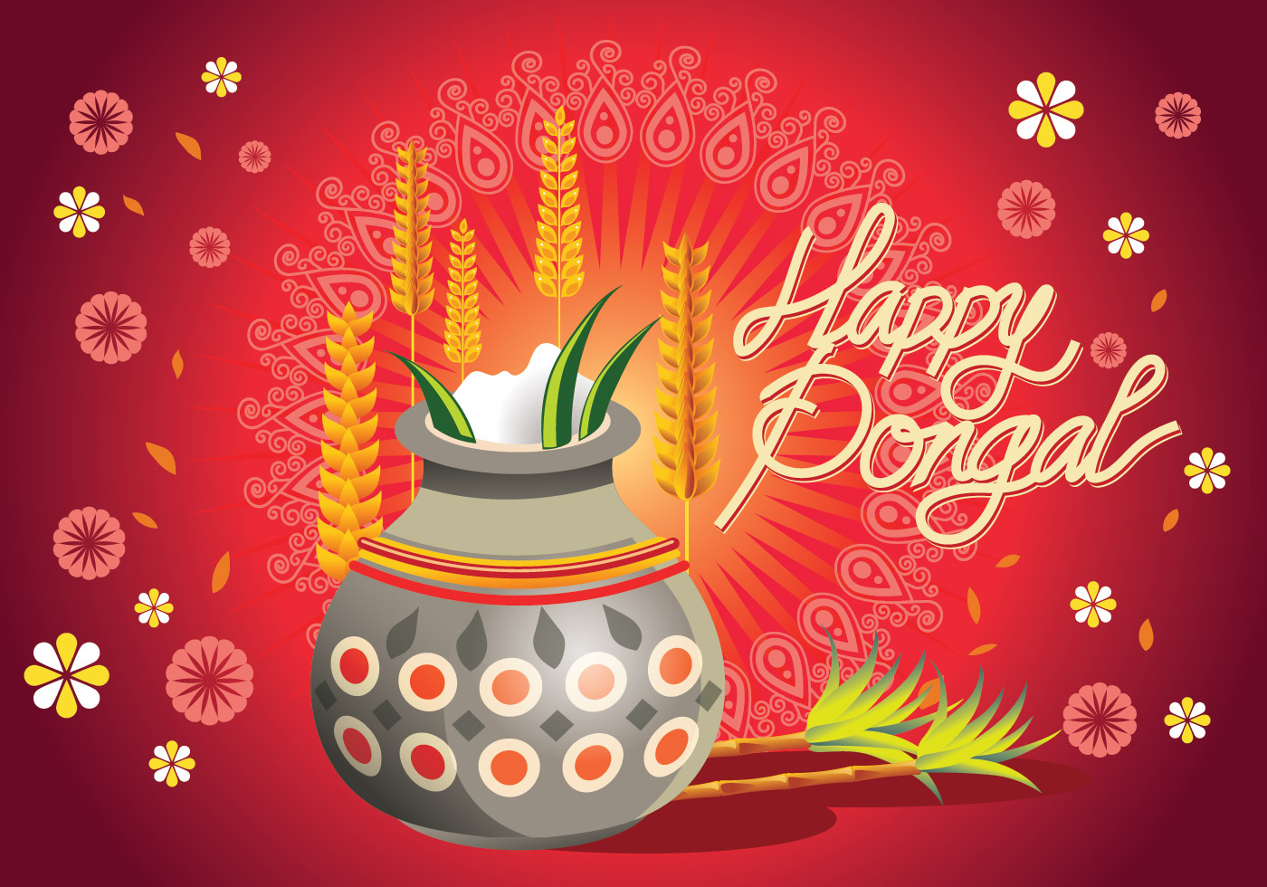 Vector Illustration Of Happy Pongal Greeting Background Download