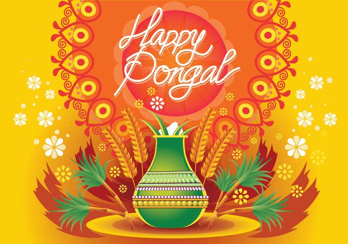 Vector Illustration of Happy Pongal Celebration Background