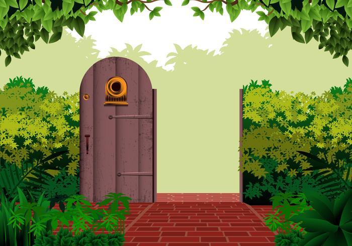 Puerta abierta del jardín