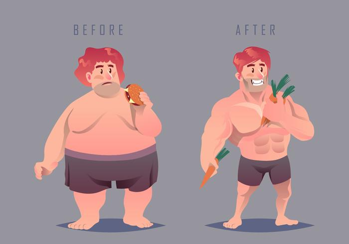 Fat And Slimming Vector