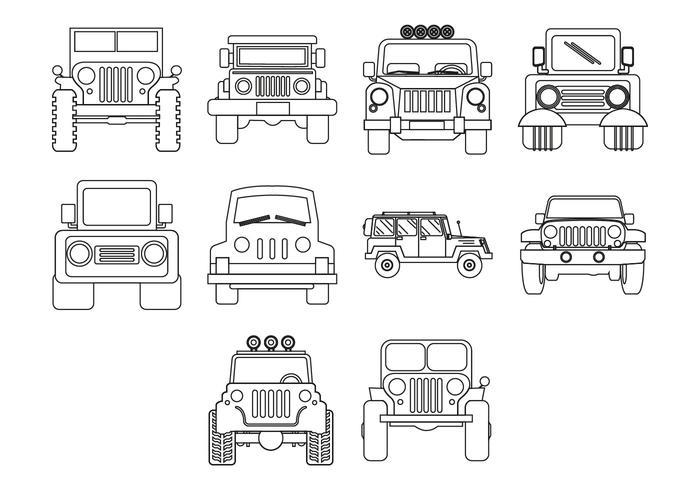 Vetor grátis de ícones Jeep
