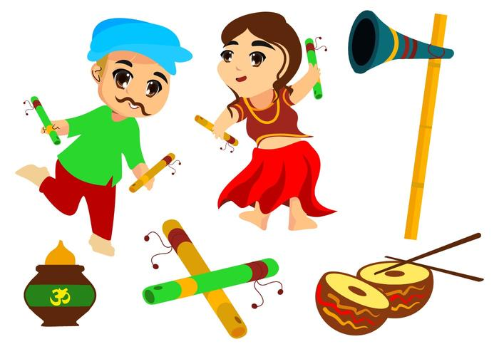 Free Couple Kids Dance Garba Vector Illustration