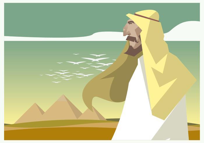 Vettore di uomini di Piramide e Egitto