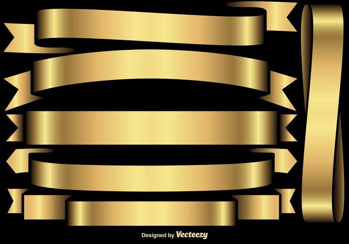 Conjunto de vetores de bandeiras de ouro / fitas