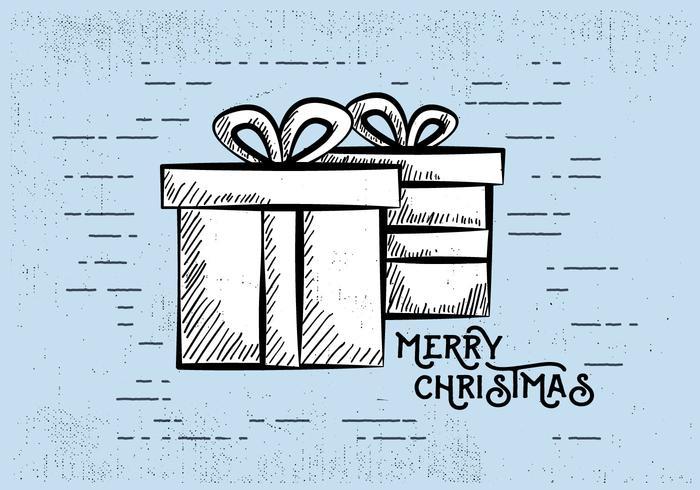 Free Vintage Hand gezeichnet Weihnachtskarte Hintergrund