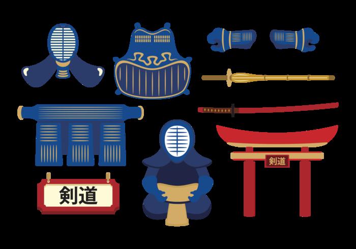 Kendo Equipment Vector Set