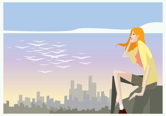 Beautiful Girl sitting in the Stone at the Afternoon Vector