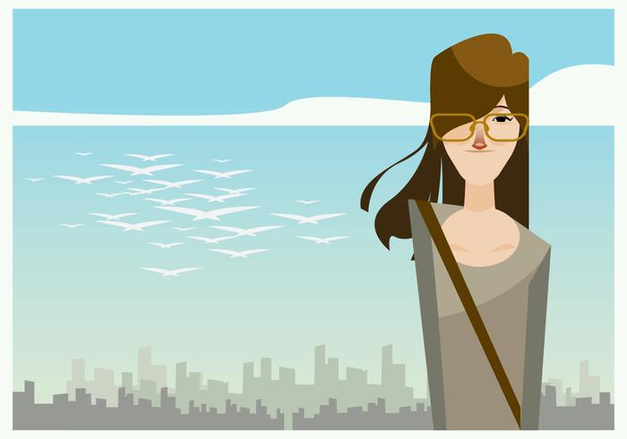 Cute Girl Walking in the Sunny Day Vector