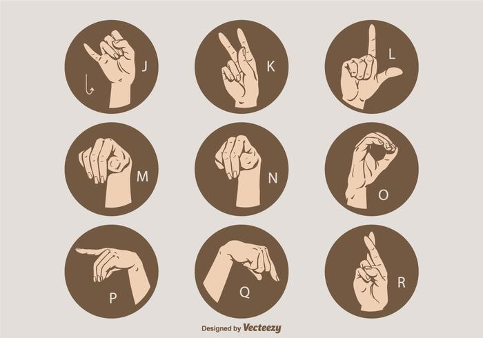 free vector sign language letter set j r