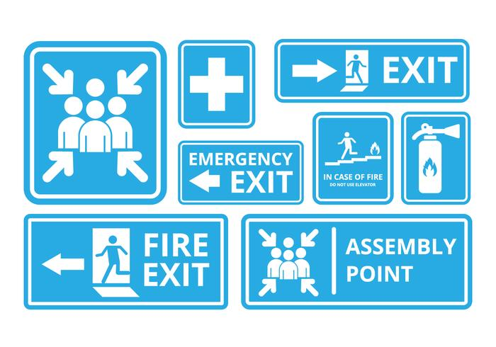 Free Fire Exit and Emergency Sign Vector