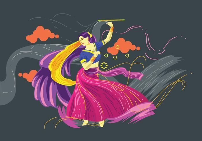Vector Design of Woman Playing Garba Dance