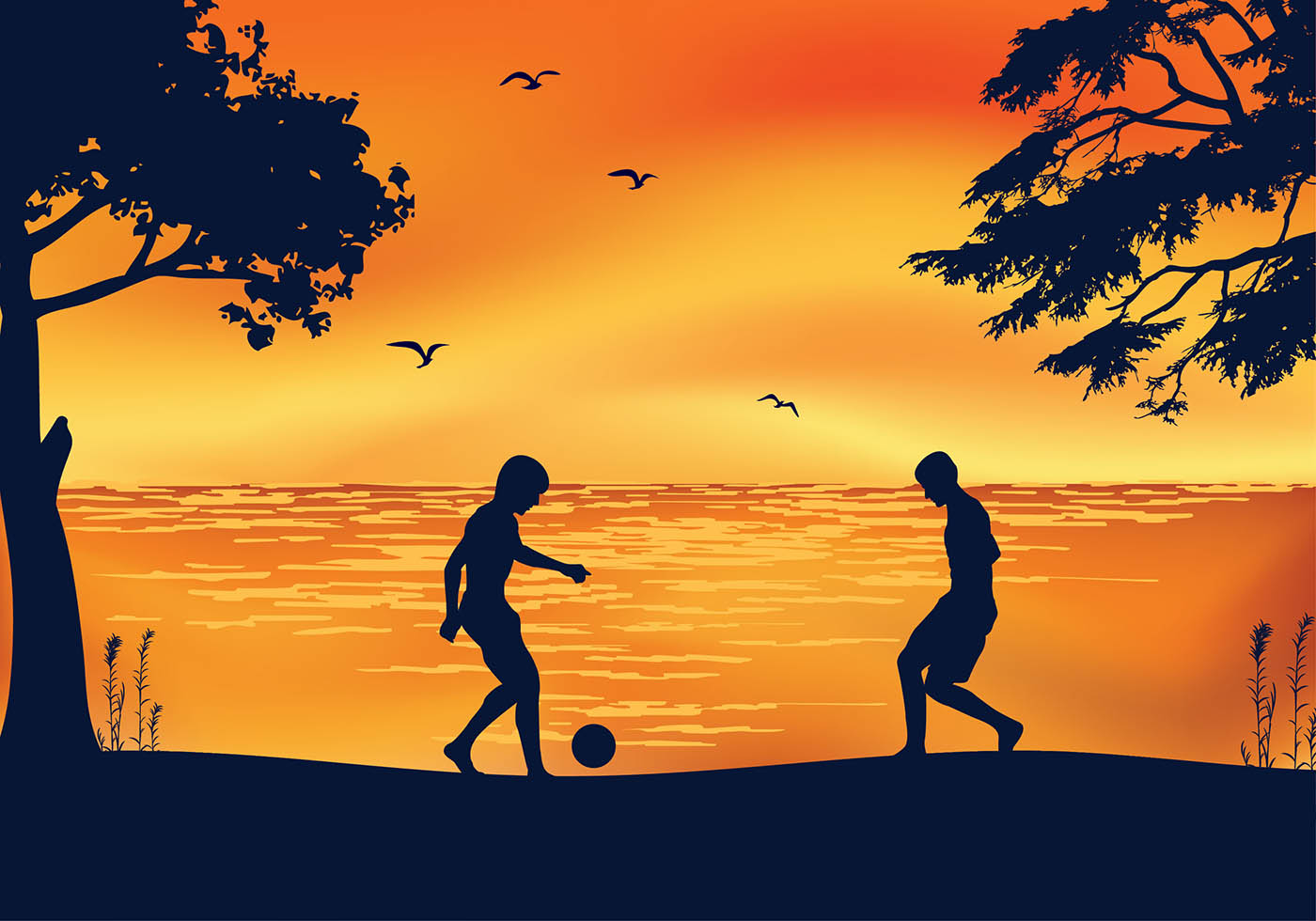 Cute Watercolor Olumpic Sports Equipment Background Vector: Soccer Beach Sunset Free Vector