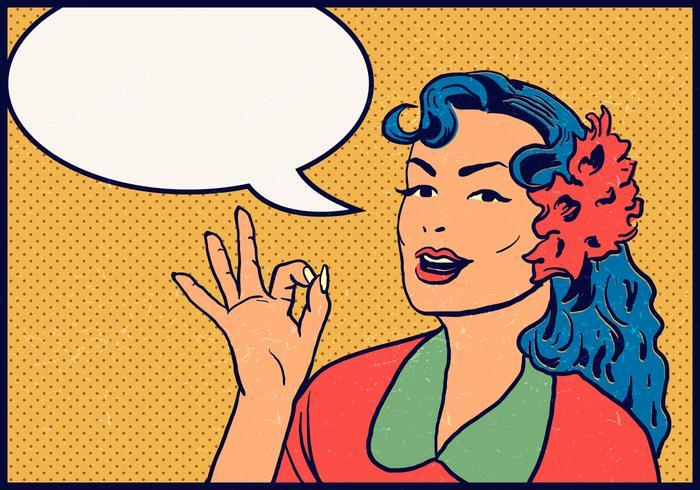 La Mujer Dice Ok Vector