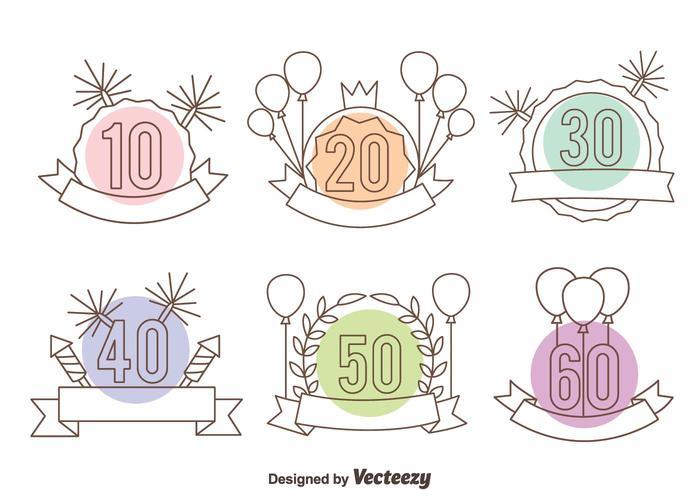 Verjaardag lijn teken vector set