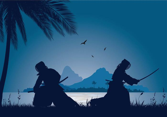 Kendo Silhouette Night Lake Free Vector