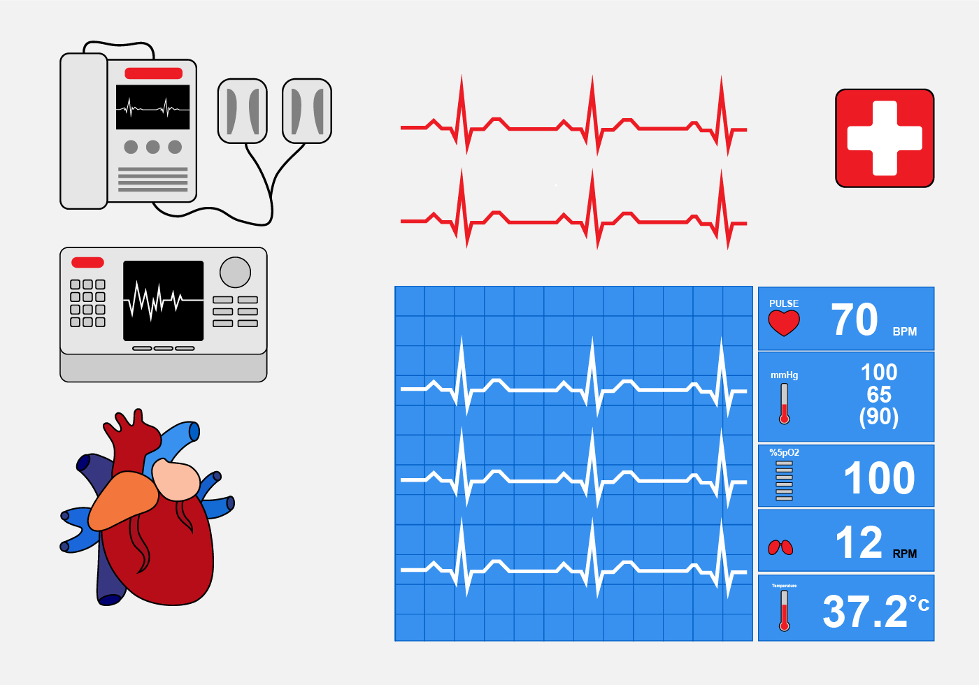Art Monitoring System : Heart rate monitor download free vector art stock