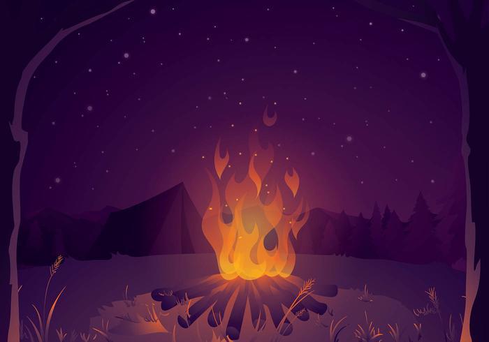 Lagerfeuer für die Geschichte erzählen Hintergrund Freier Vektor