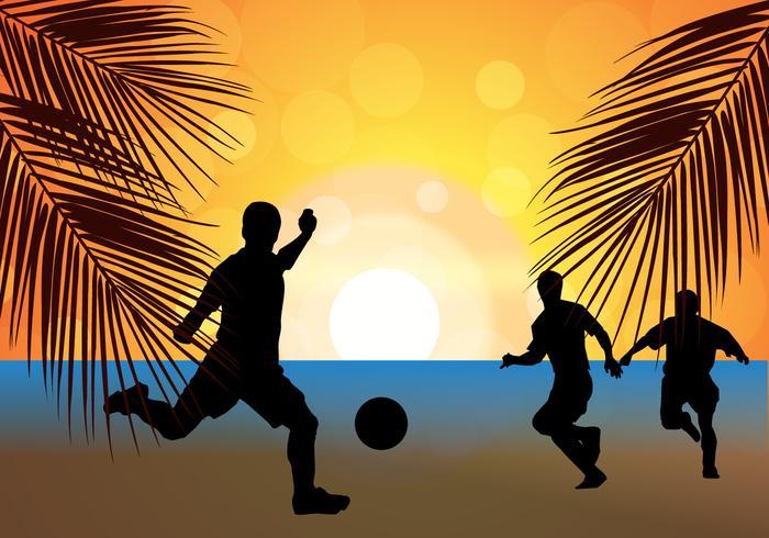 Beach Soccer Football Sunset Silhouette