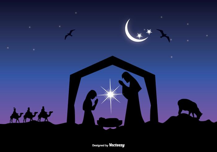 Beautiful Nativity Scene Vector