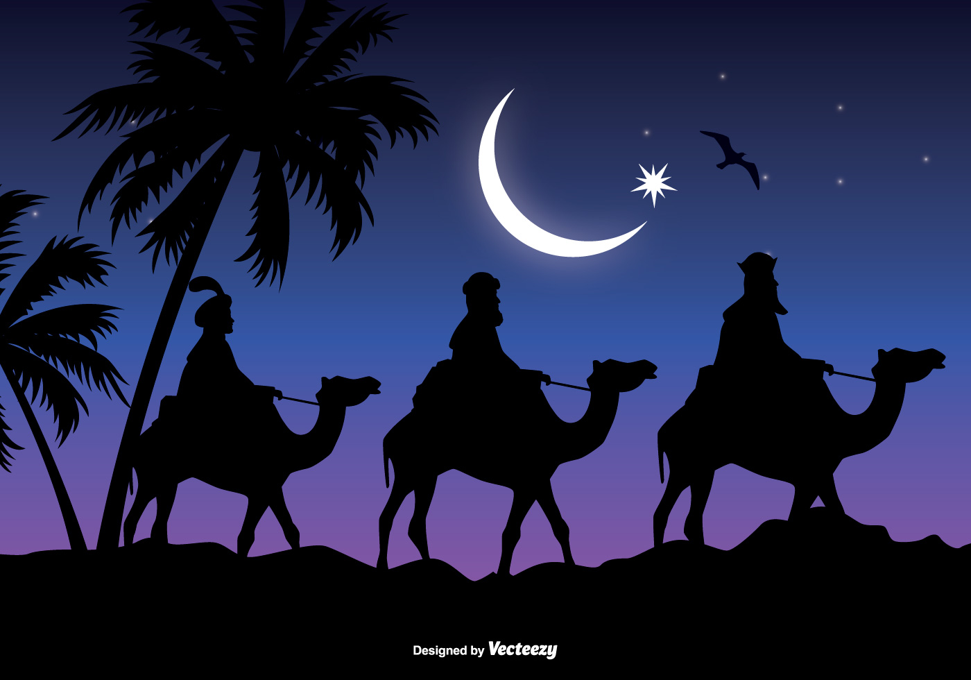 3 Wise Men Gifts For Christmas: Three Wise Men Scene Vector