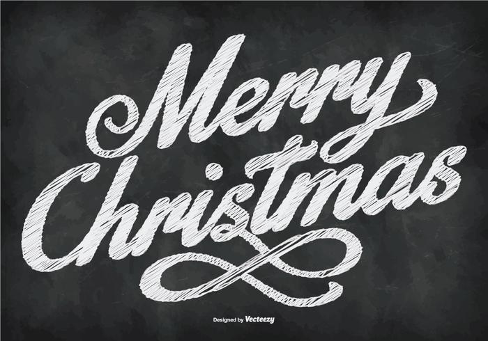 Chalkboard Style Merry Christmas Illustration