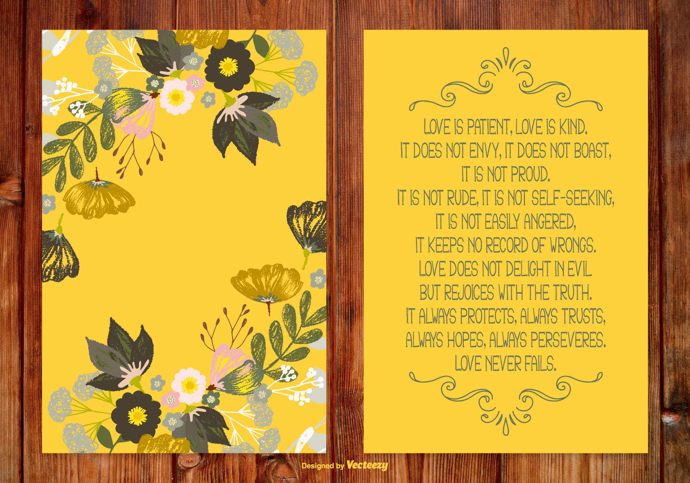 Beautiful Floral Poem Card Download Free Vector Art Stock