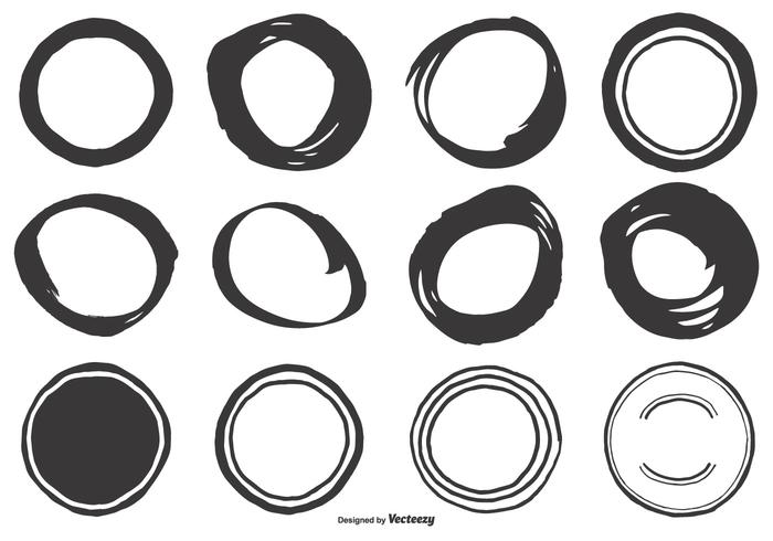 Cute Hand Drawn Circle Shapes vector