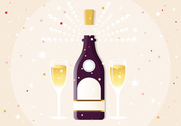 New Year Champagne Vector Illustration