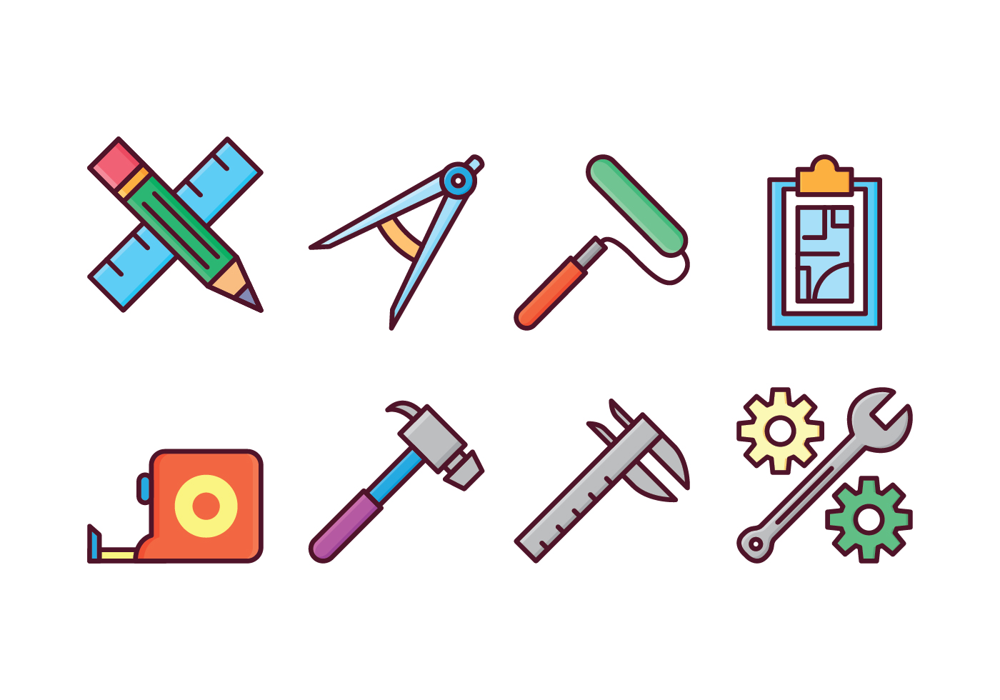 Architect and construction icons download free vector for Architecture design tools free