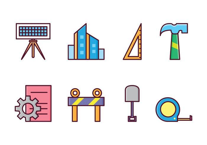 Icone gratuite di architetto e costruzione vettore