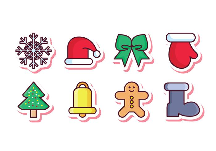 Free Christmas Sticker Icon Set