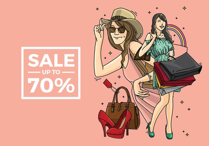 Mujer Shopping Free Vector