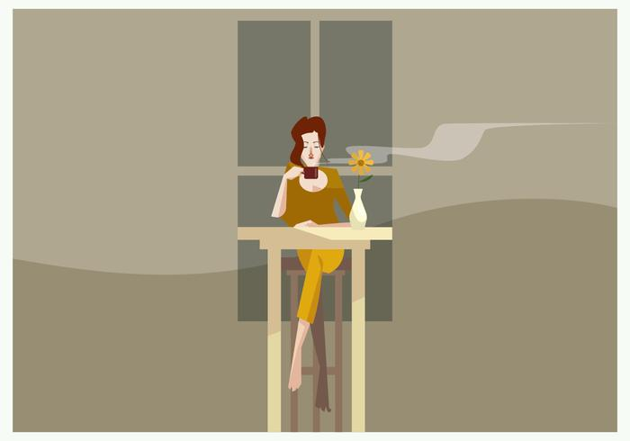 Women With a Cup of Coffe in The Evening Vector
