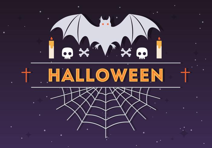 Halloween Spider and Bat Vector Illustration