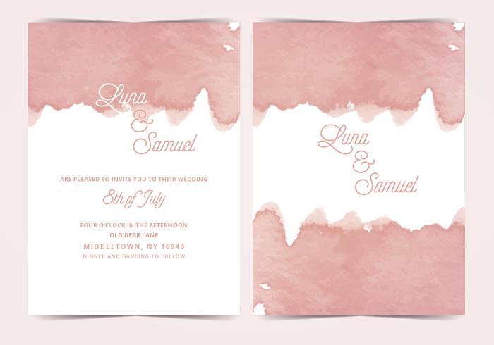 Pink Watercolor Vector Wedding Invite