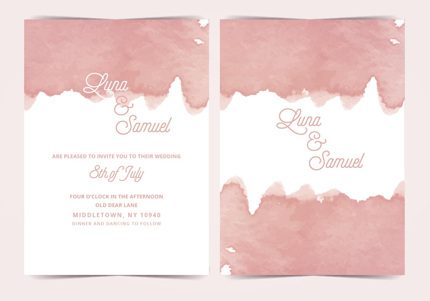 Pink Watercolor Vector Wedding Invite Download Free
