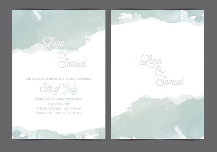 Gray Watercolor Vector Wedding Invite